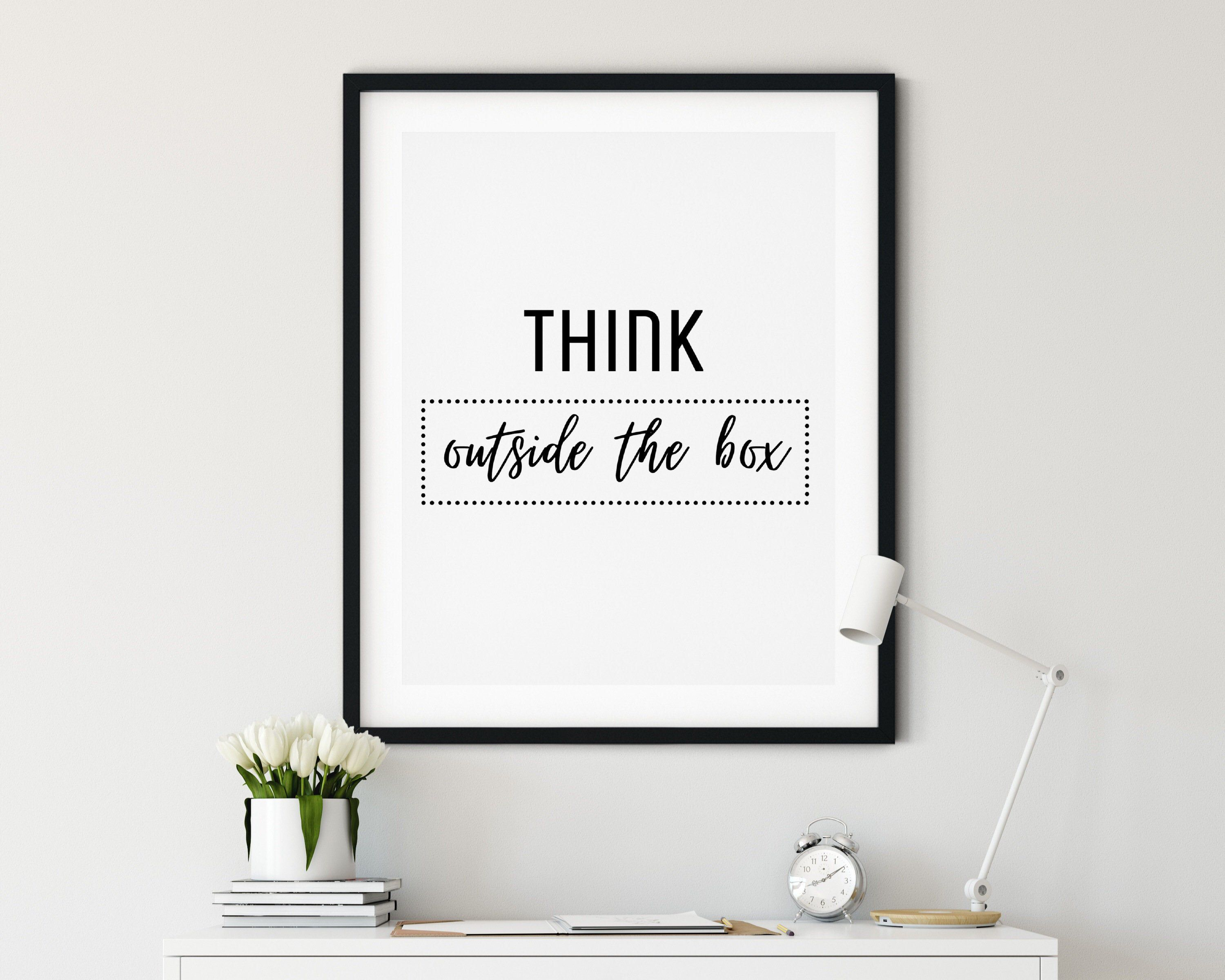 Think outside the box Inspirational Printable Art Office   Etsy