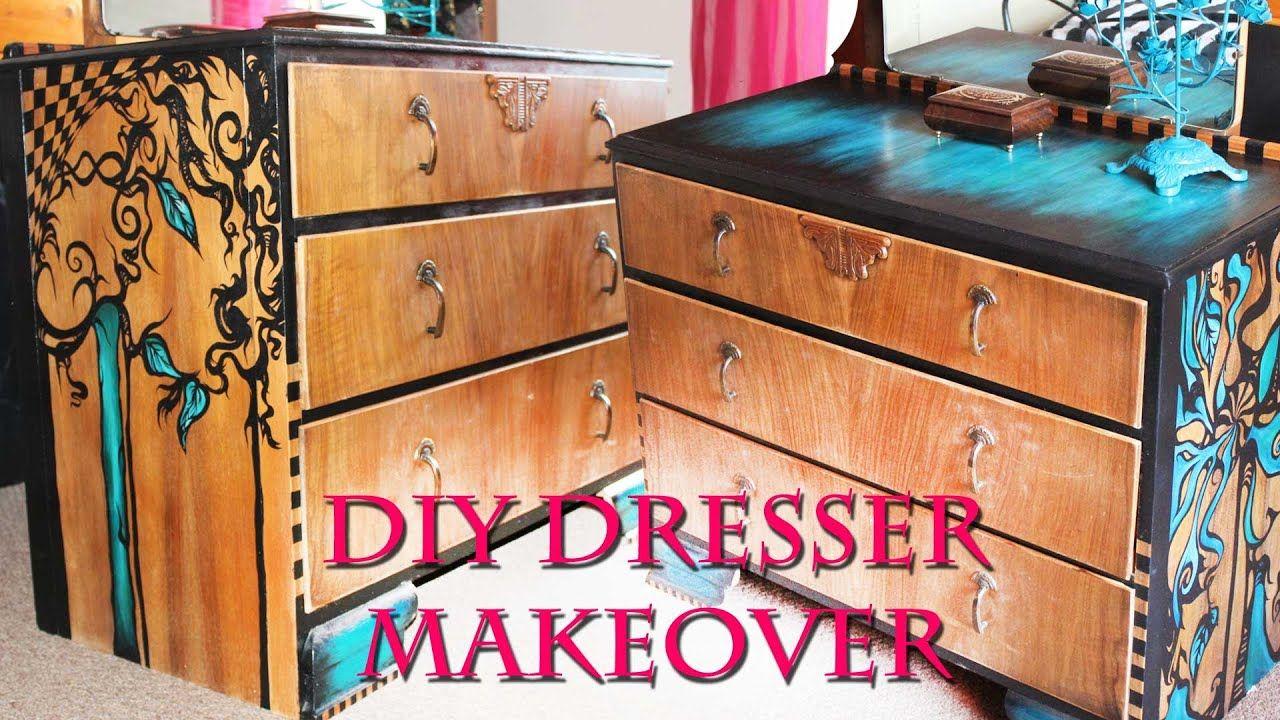 Hand Painted Furniture Makeover Emy Meowski Youtube Painted Furniture Hand Painted Furniture Diy Dresser Makeover
