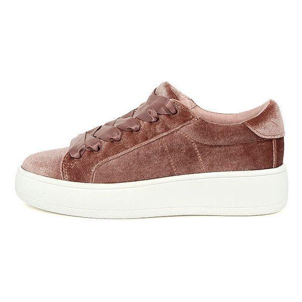 Velvet shoes · Steve Madden Bertie-V Blush Velvet Sneakers ($59) ❤ liked on  Polyvore featuring