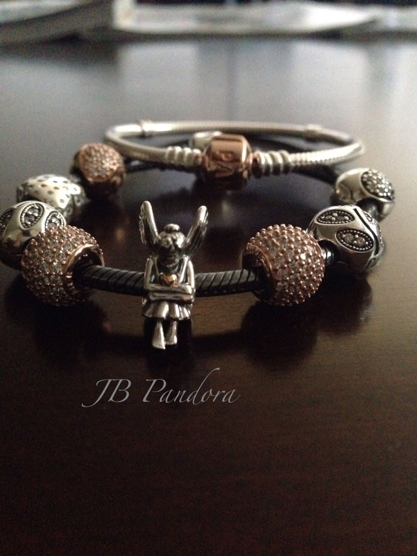 Pandora Oxidized Bracelet With Rose Gold Charms Perfect Combination