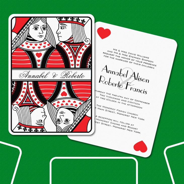 King And Queen Of Hearts Playing Card Wedding Zazzle Com Hearts Playing Cards Wedding Cards Playing Cards