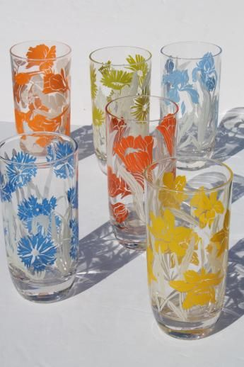 mid-century vintage kitchen glass drinking glasses set ...