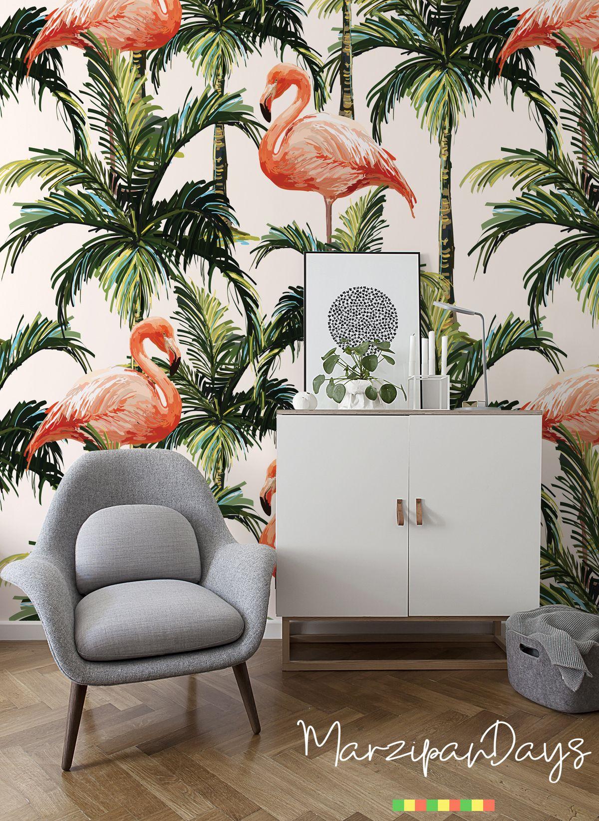 Flamingo Wallpaper Tropical Wall Mural Palm Wall Decor Etsy Flamingo Wallpaper Tropical Home Decor Wall Murals