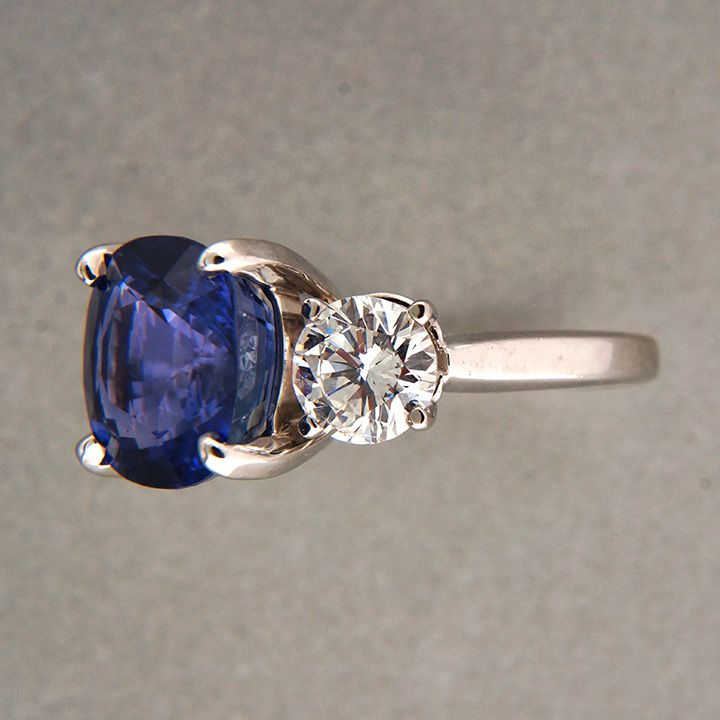 antique cushion cut saphire and side diamond rings | Vintage 7 72ct Cushion Natural Blue Sapphire 1 70ct Diamond Platinum ...