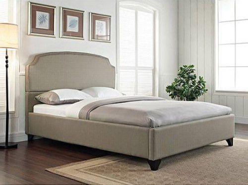 Upholstered King Size Bed Frame High Back Headboard Footboard