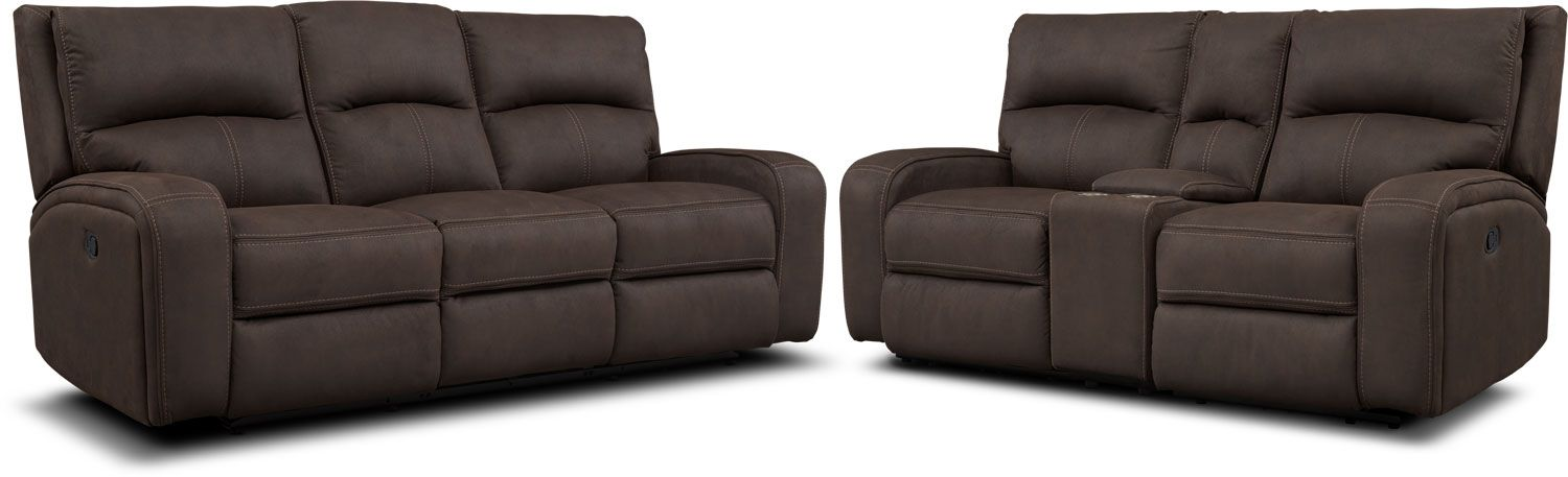 Pleasant Burke Manual Reclining Sofa Loveseat With Console Brown Cjindustries Chair Design For Home Cjindustriesco