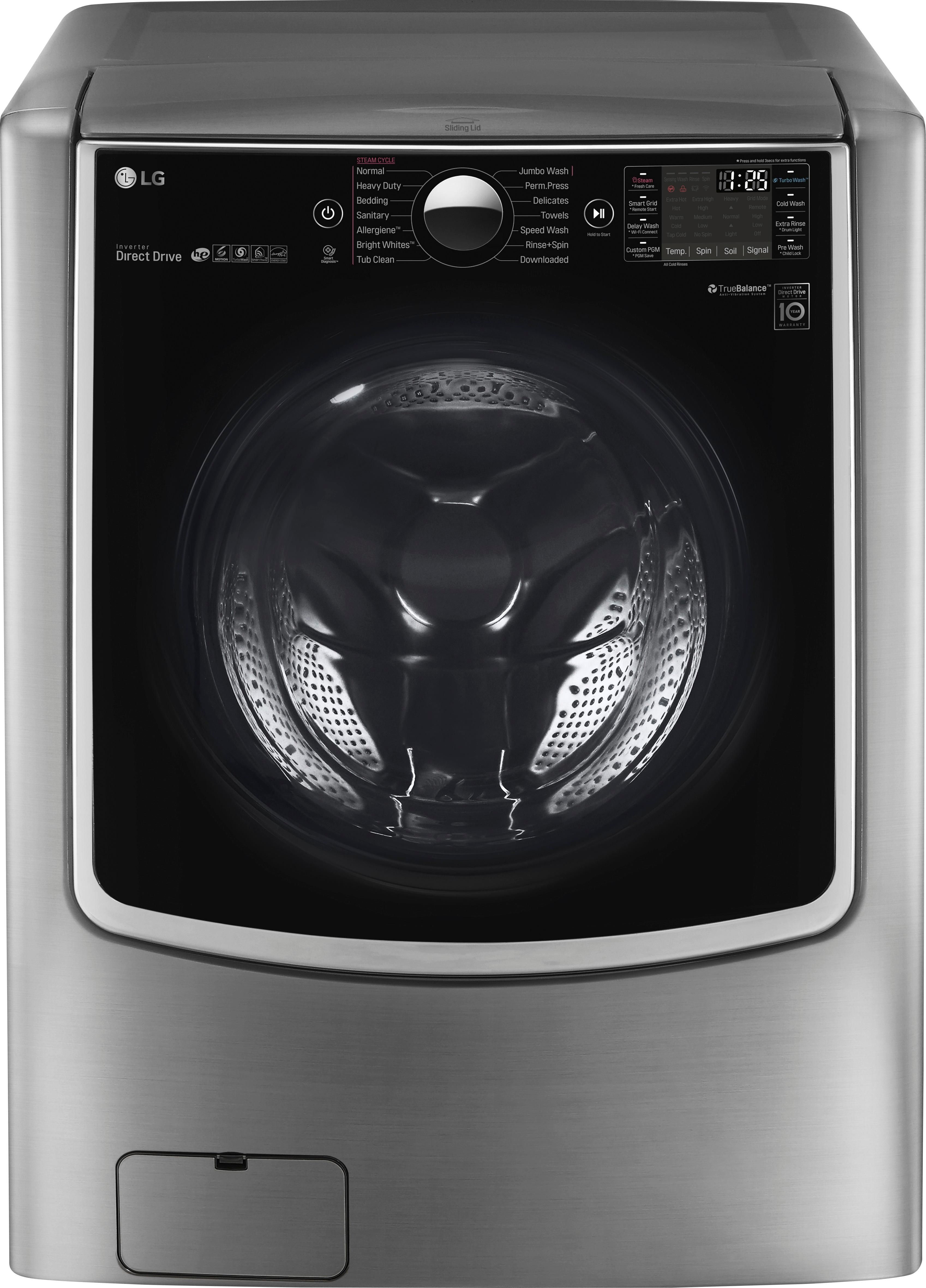 Lg 5 2 Cu Ft 14 Cycle Front Loading Smart Wi Fi Washer With Turbowash And Steam Graphite Steel Wm9000hva In 2020 Stackable Washer Stackable Washer And Dryer Maytag Washer And Dryer