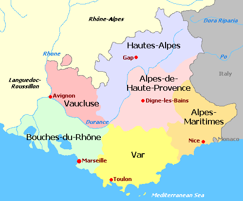 map of provence alpes c te d 39 azur france provence france. Black Bedroom Furniture Sets. Home Design Ideas