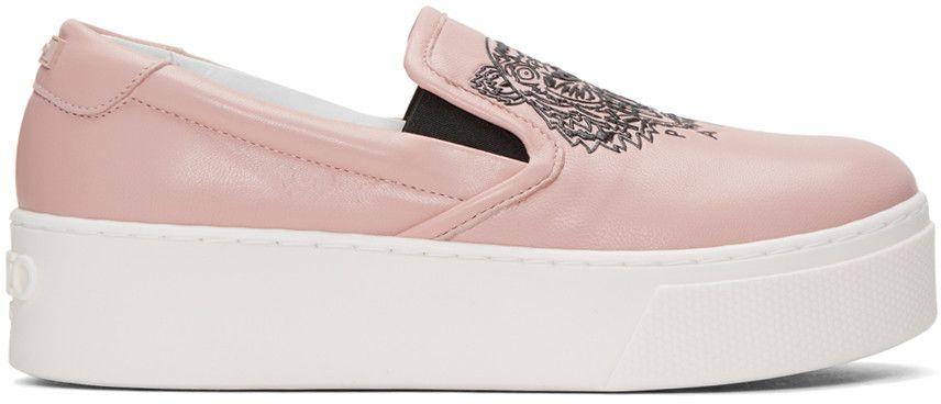 c5617cfc18 KENZO Pink K-Py Tiger Platform Slip-On Sneakers. #kenzo #shoes ...