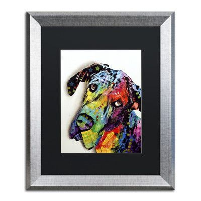 "Trademark Art ""Tilted Dane"" by Dean Russo Matted Framed Painting Print Size: 20"" H x 16"" W x 0.5"" D"