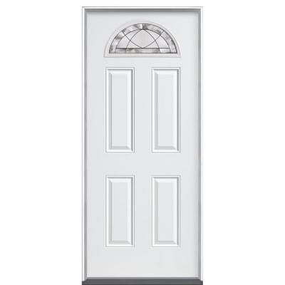 Masonite Diamond Fan Lite Primed Steel Entry Door With No Brickmould 41635 At The Home Depot Steel Entry Doors Doors Entry Doors