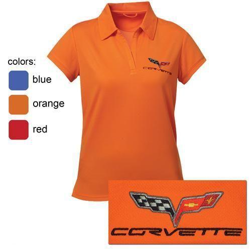 Womens C6 Corvette Performance Polo Shirt Performance Polos Shirts Polo Shirt