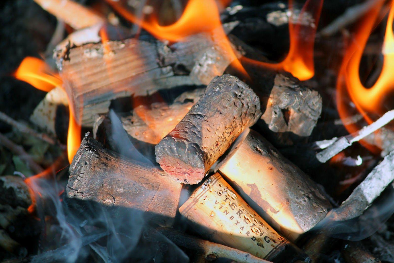 Wine corks soaked in rubbing alcohol-These little firestarters work great in backyard fire rings!