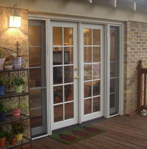 Classic Clad French Door With Operating Sidelites And Simulated Divided Lite Grids French Doors Exterior French Doors Patio Exterior Sliding French Doors