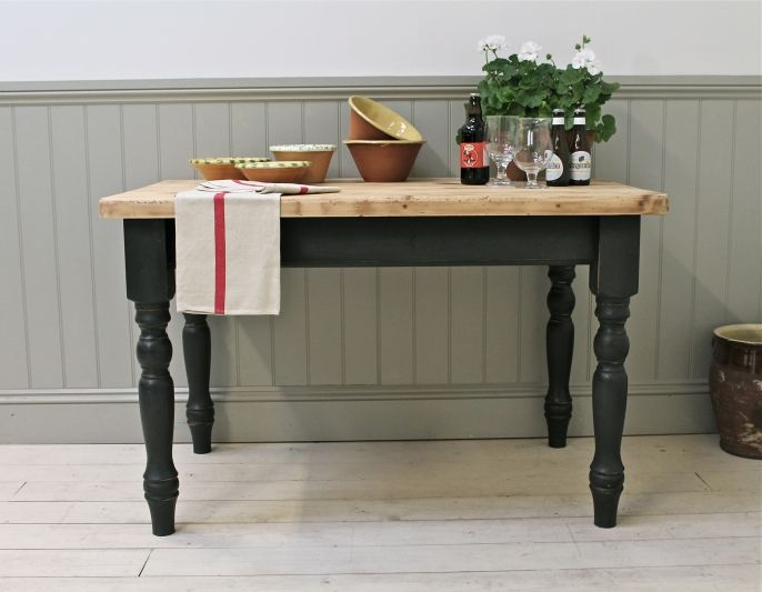 Distressed Painted Pine Farmhouse Kitchen Table - For Sale | Distressed But Not Forsaken