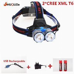 [ 19% OFF ] Rechargeable Cree Xmlt6 Led Headlamp Headlight Light Lighting Lantern Lamp +2*18650 Battery+1*ac/charger+1*usb Charger