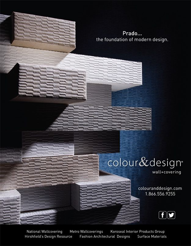 Colour Designs PradoTM Wallcovering Advertisement For November 2013 Issue Of Interior Design Magazine