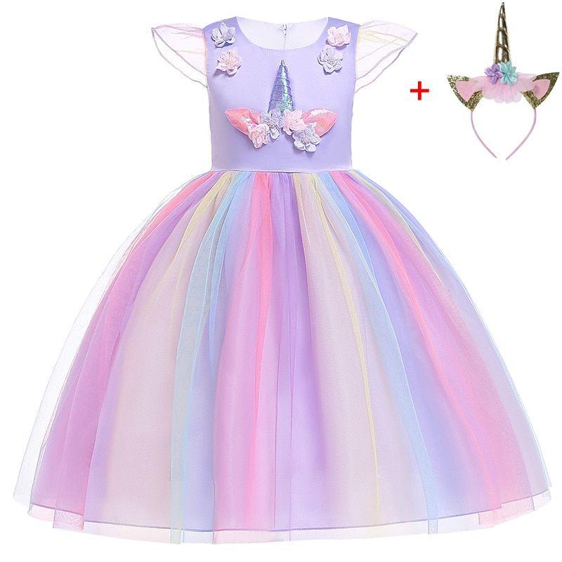 Rainbow Girls Unicorn Tutu Dress Fancy Costume For Kids Party dress UK