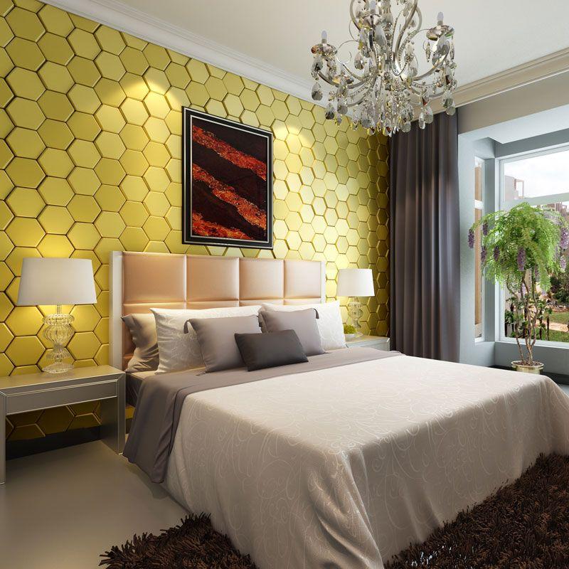 3d-faux leather tile 12001 for bedroom design idea of modern decor ...