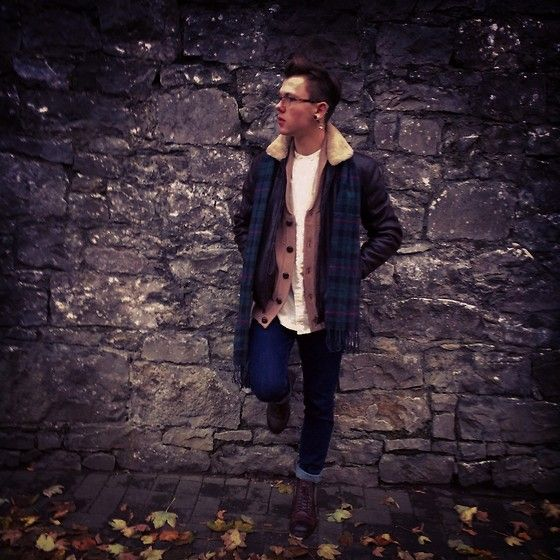 Primark Check Scarf, Zara Shearling Lined Leather Look Hacket, Asos Oatmeal Shirt, Primark Camel Shawl Cardigan, River Island Indigo Jeans, Zara Brown Boots. Layers
