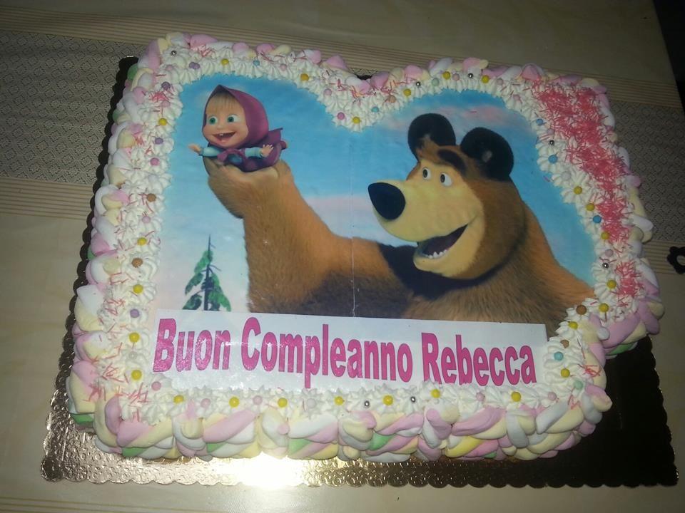 cake torta masha e orso thebear panna 3anni