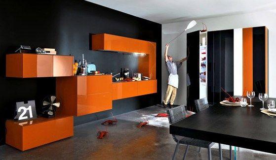 belle deco salon orange et gris