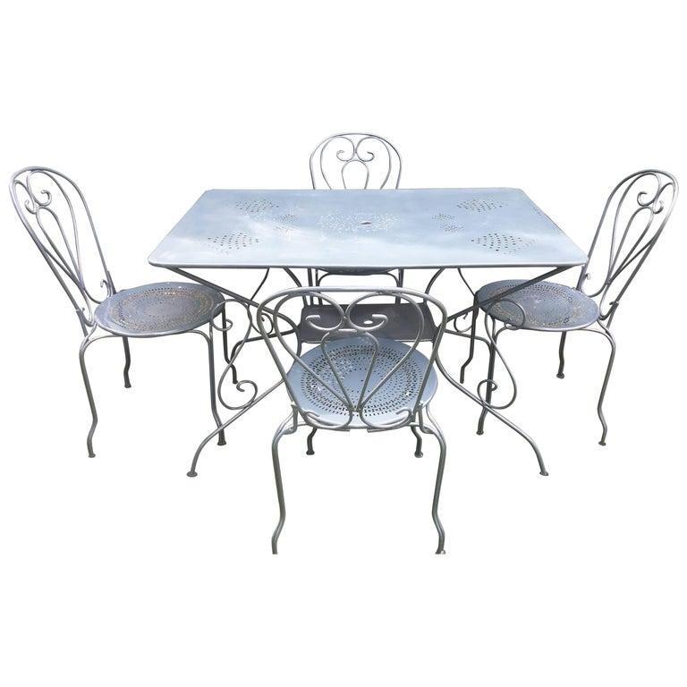 French Wrought Iron Rectangular Garden Table Circa 1920 Garden