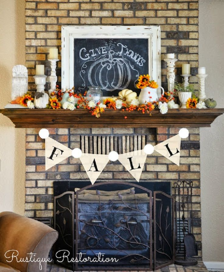 Fall Fireplace Decor Idea with Give Thanks