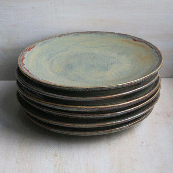 Ceramic Dinnerware Rustic Green Plates Handmade Set of Six Stoneware Dishes in Textured Green Glaze Pottery Dinnerware Made in USA & Ceramic Dinnerware Rustic Green Plates Handmade Set of Six Stoneware ...