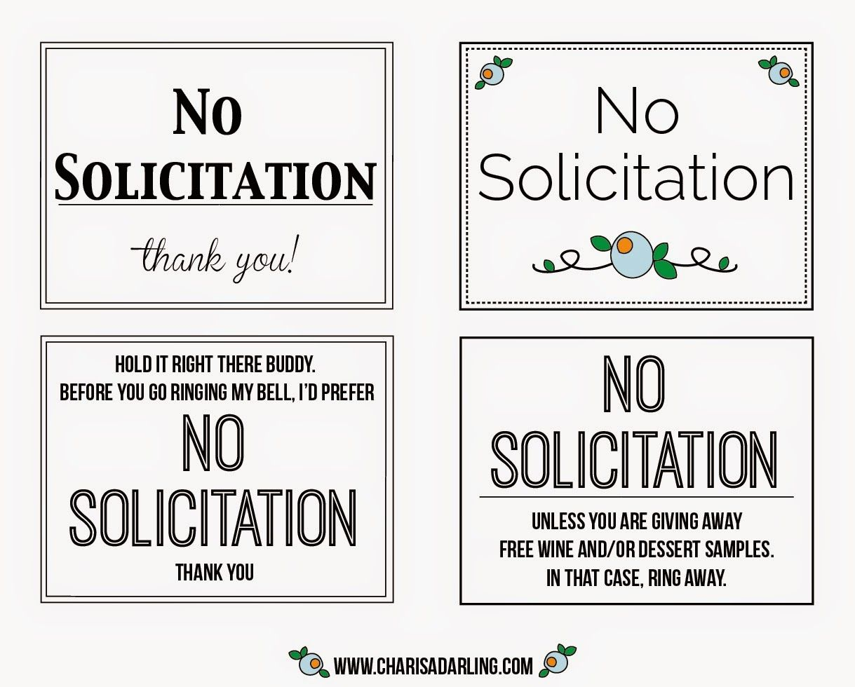 photograph about No Soliciting Printable called No Solicitation Printable Signs or symptoms Charisa Darling