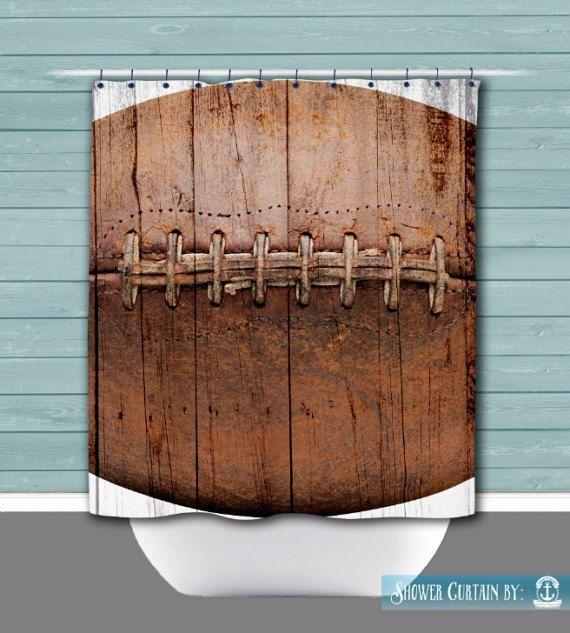 Football Shower Curtain Lacing Sports Bathroom