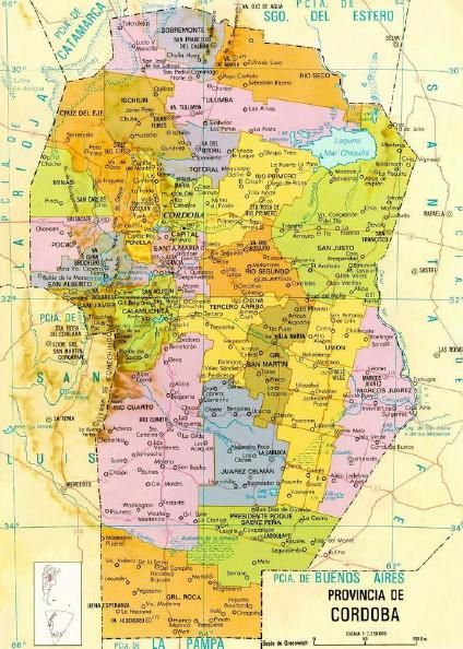 Mapa Provincia De Cordoba Politico.Cordoba Argentina Province Map En 2019 Mapa De Argentina