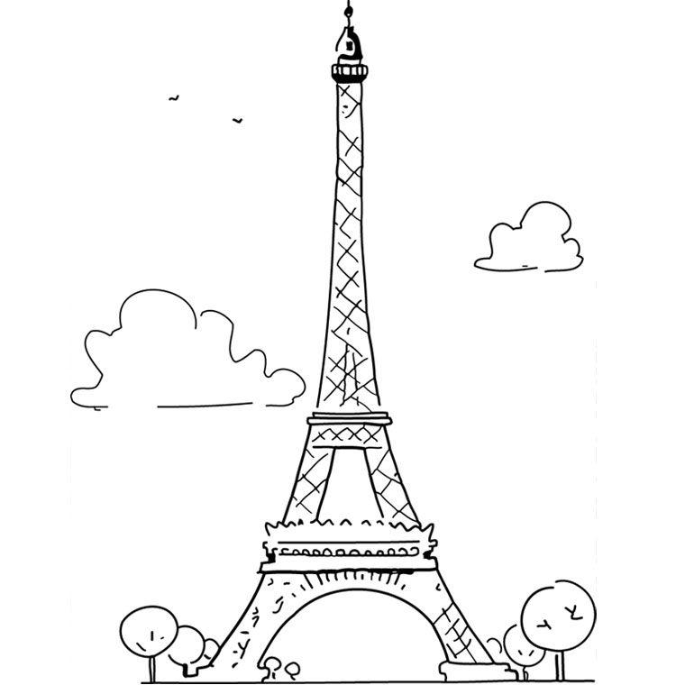 Torre Eiffel Llibre Per Pintar Dibuix D Impressio Coloriage