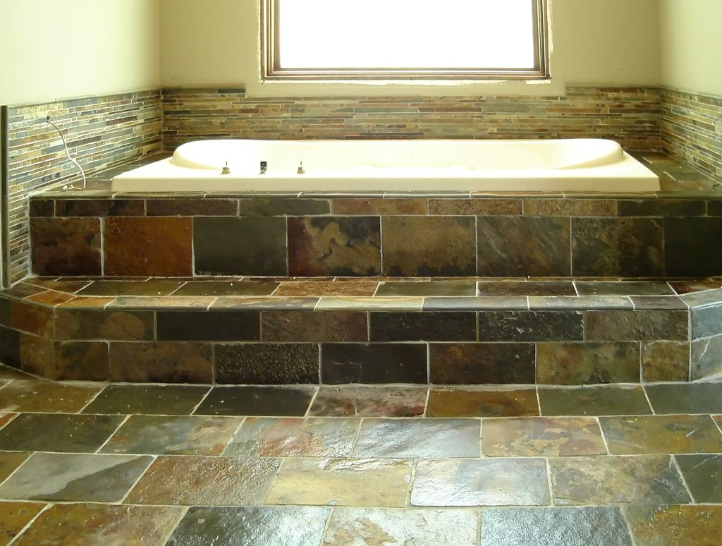 Slate bathroom shower designs - Slate Bathroom Floor And Tub Surround