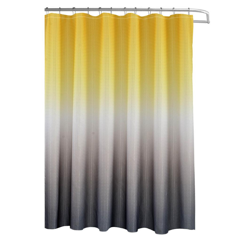 Creative Home Ideas Ombre Yellow Grey 70 In X 72 In Texture Printed Shower Curtain Set With Beaded Rings Ymc005937 The Home Depot In 2020 Yellow Grey Bedroom Decor Yellow Bathroom Decor