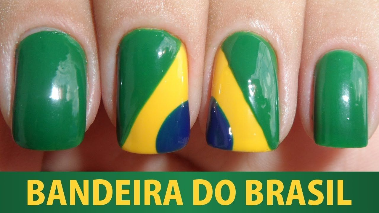 Unhas Decoradas - Bandeira do Brasil | shared nail art | Pinterest