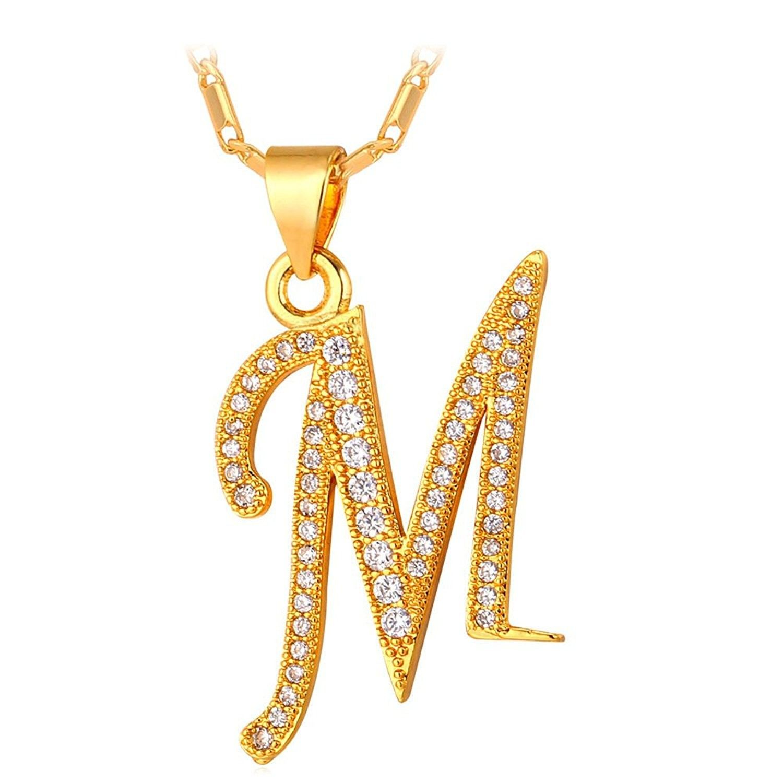 Cubic zirconia platinumk gold plated chain az initial letter