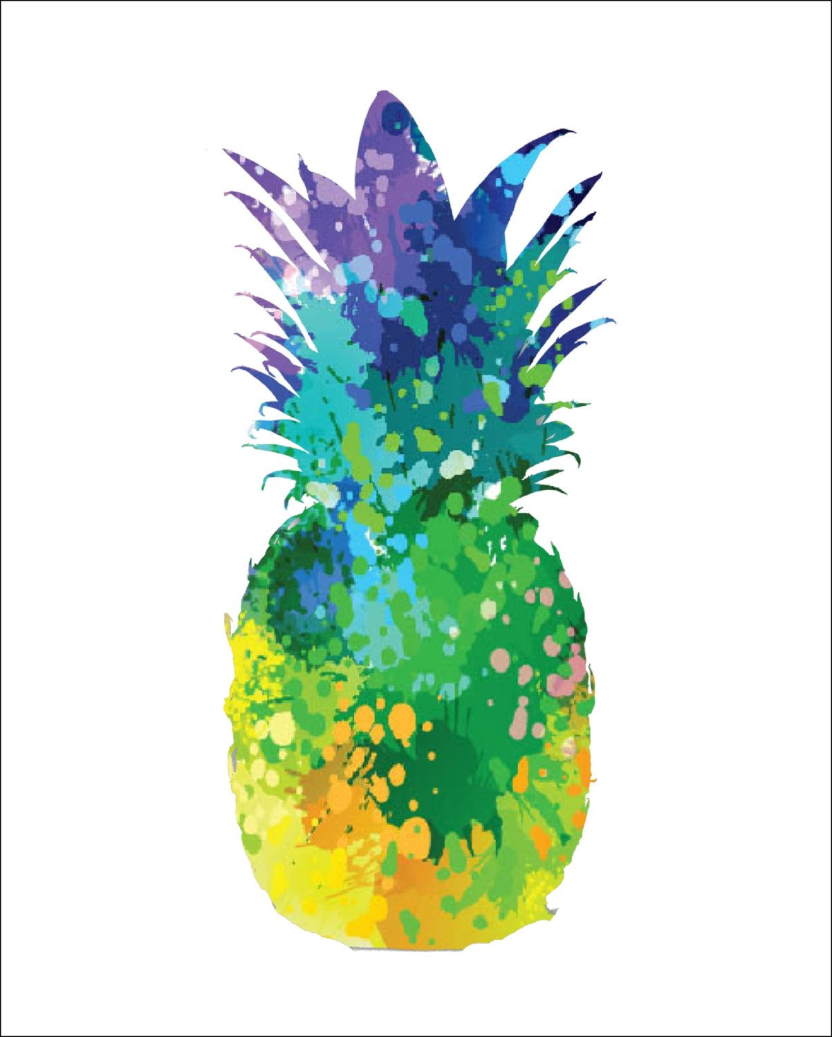 e0833d1be PINEAPPLE Archival Art Print 8 x 10 Multi-color Watercolor Silhouette  Painting Pineapple Print Wall Decor Home or Office, Kitchen or Gift by ...