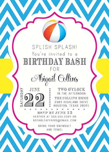 Chevron Beach Ball Pool Party School is Out Birthday Party - birthday invitation pool party