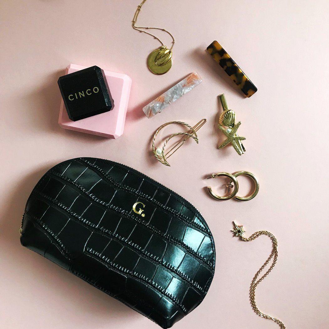 Black Croc Moon Cosmetic Bag Cosmetic bag, Monogrammed