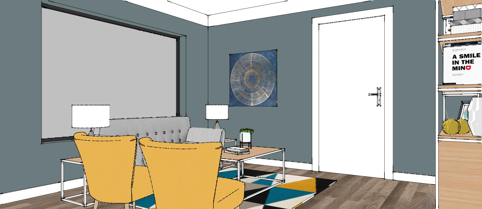 Visuel 3d D Un Appartement En Bleu Et Jaune Vue Du Salon Avec Un