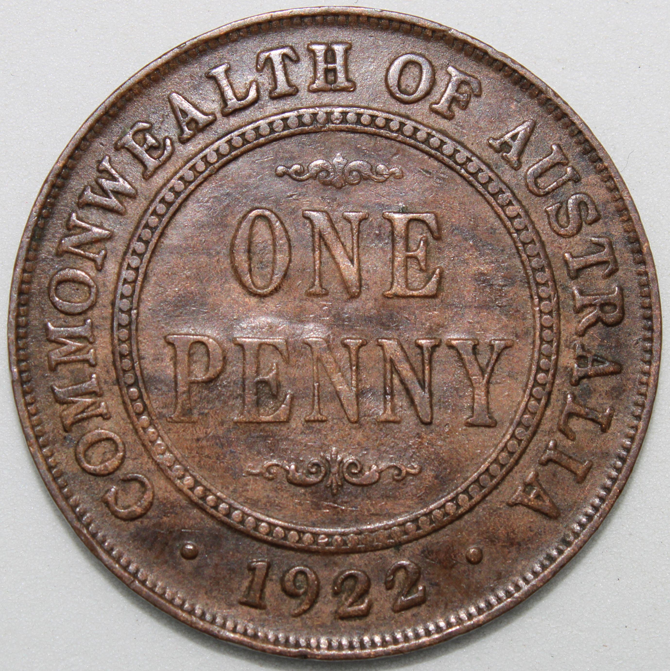 m Australia 1936 - 1 Penny Bronze Coin King George V