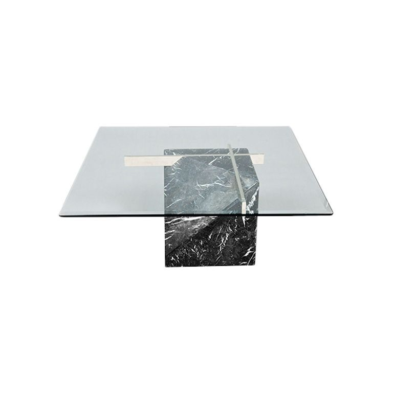 artedi marble base & glass top coffee table 1970/80s   marbles