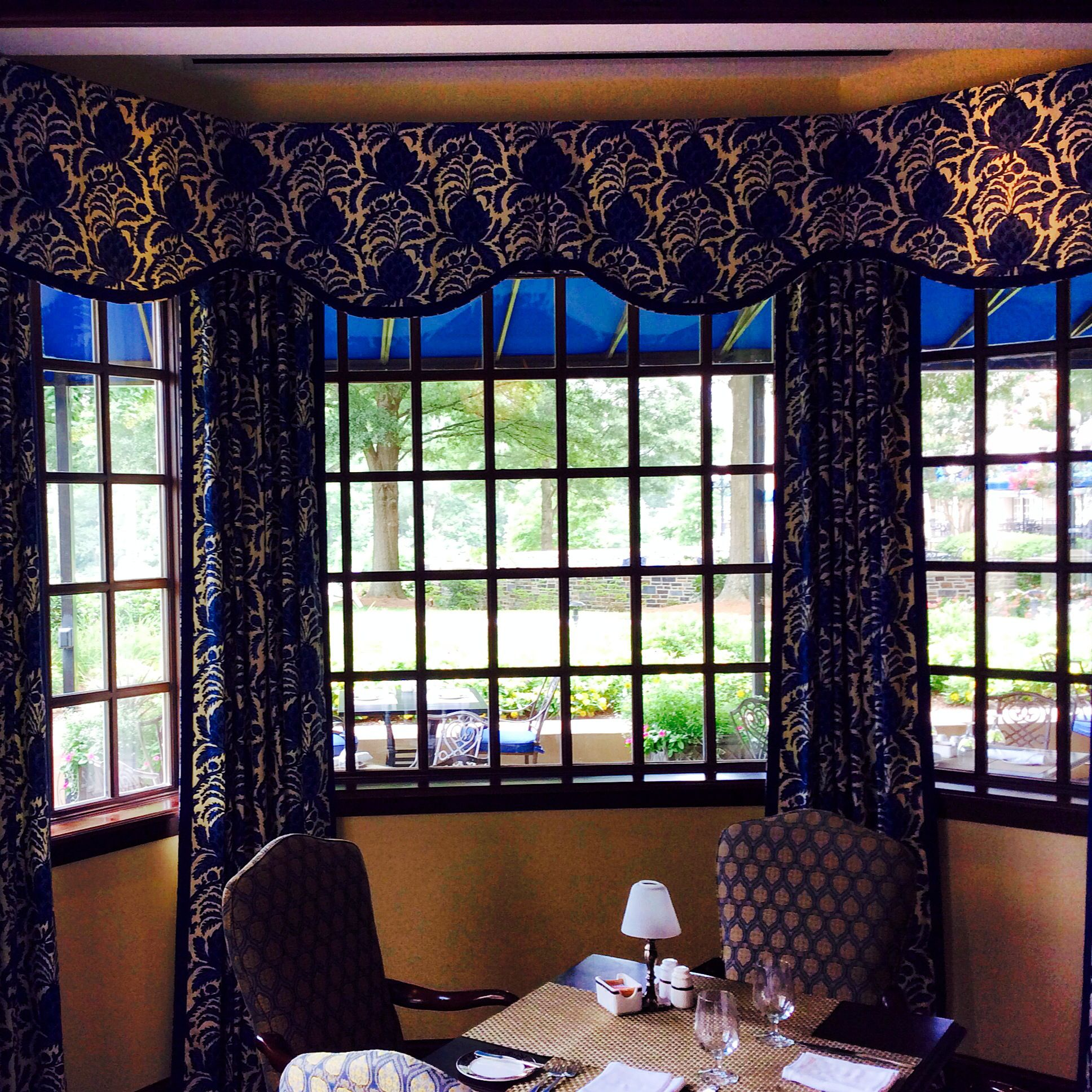 Fairview Dining Room The Beautiful New Duke Blue Window Treatments In The Fairview