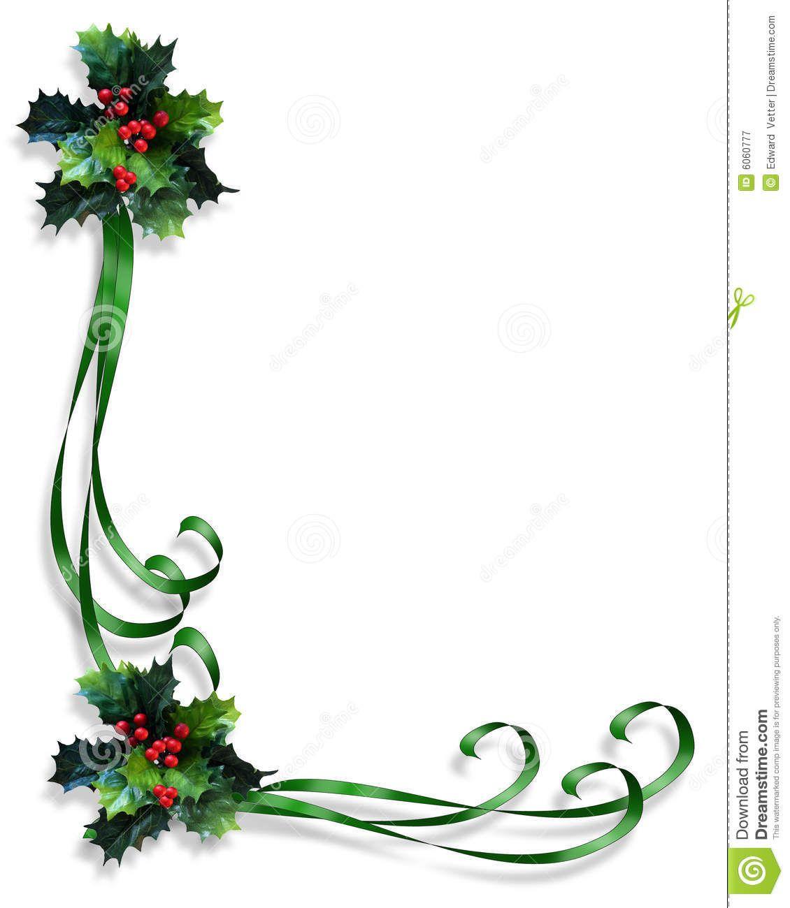Free Ribbon Border Clip Art Christmas Border Holly And Ribbons Royalty Free Christmas Borders Christmas Border Free Christmas Printables