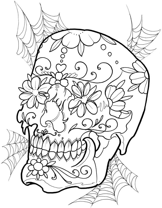 Skull with flowers Skull coloring pages, Coloring pages