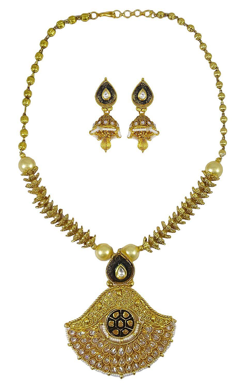 Matra goldtone indian women designer pcs necklace earring set