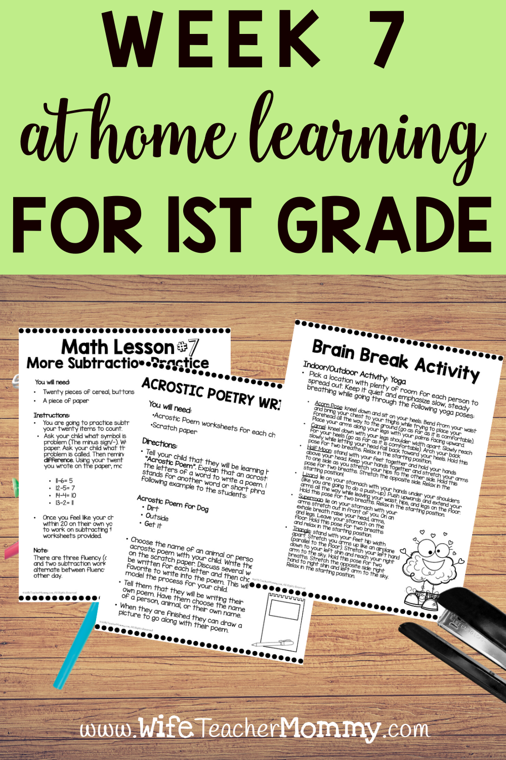 1st Grade Distance Learning Packet At Home Learning Activities Week 7 Wife Teacher Mommy Distance Learning Ist Grade Math Read To Self [ 1500 x 1000 Pixel ]