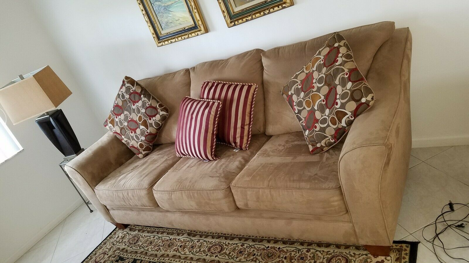 Sensational Microfiber Couch With Matching Decorative Pillows And Free Caraccident5 Cool Chair Designs And Ideas Caraccident5Info