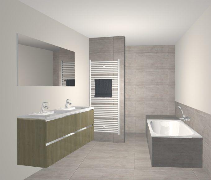 Deze badkamer met schuine muur werd echt handig ingericht met een bad een ruim lavabomeubel en - Badkamer betegeld ...